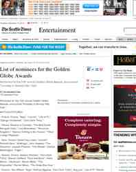 List of nominees for the Golden Globe Awards: Seattle Times
